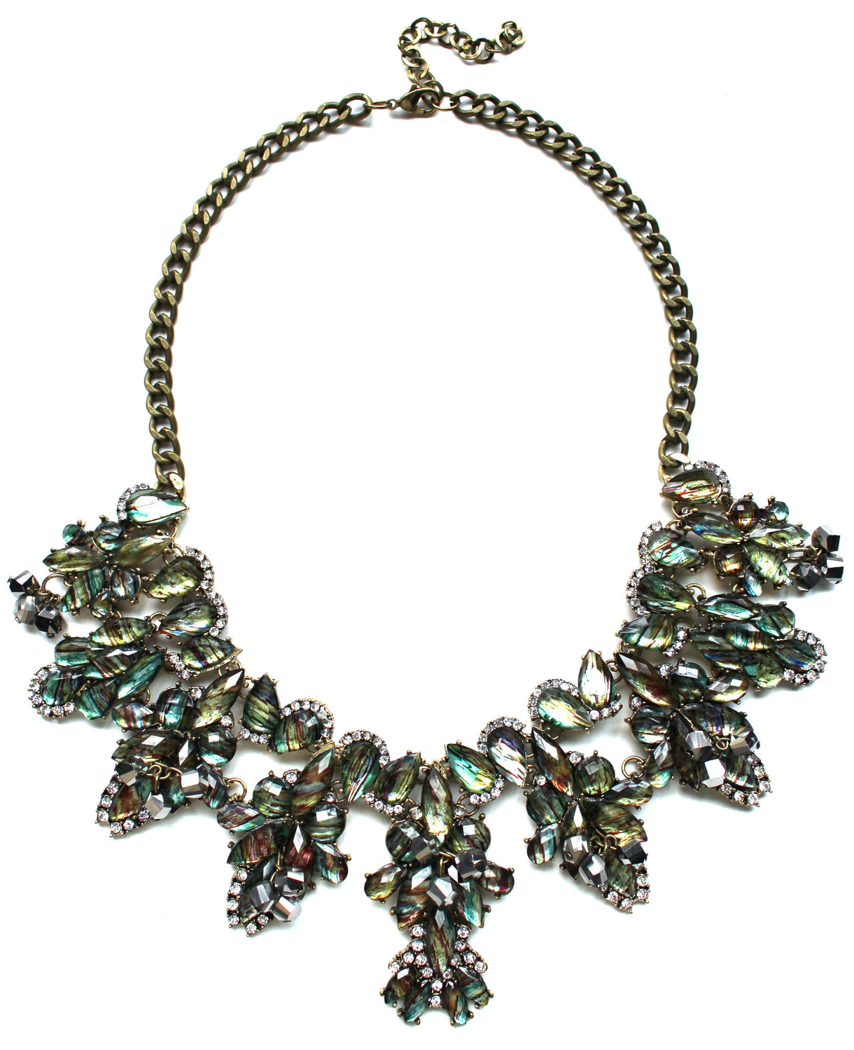 Shimmering Opal Crystals Statement Necklace