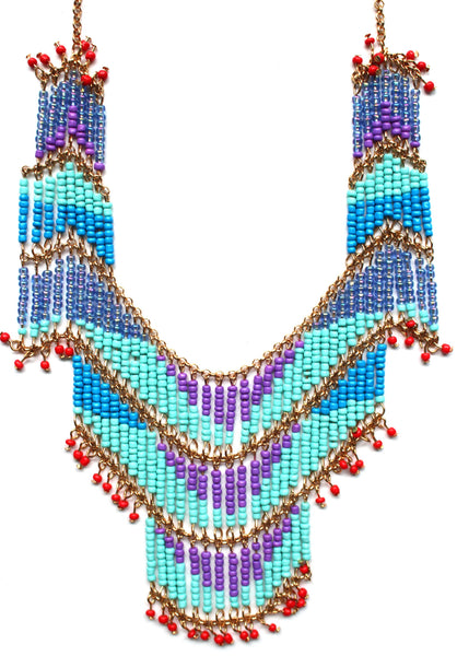 Tropical Beaded Fringe Necklace