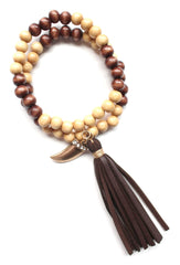 Beaded Leather Tassel Stretch Bracelet