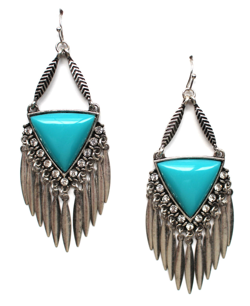 Southern Belle Fringe Earrings- Turquoise