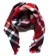Mad For Plaid Blanket Scarf- Red Multi
