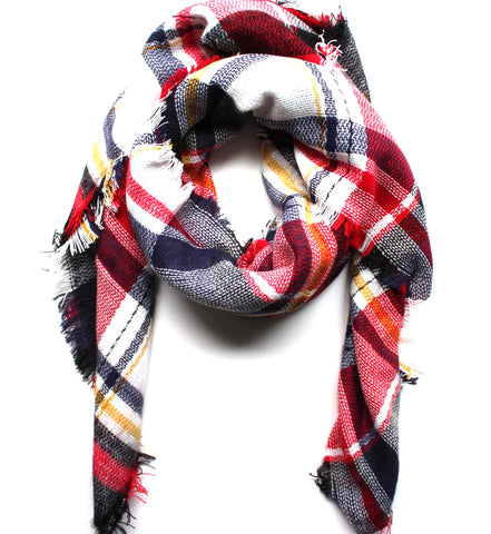 Mad For Plaid Blanket Scarf- Red/Blue