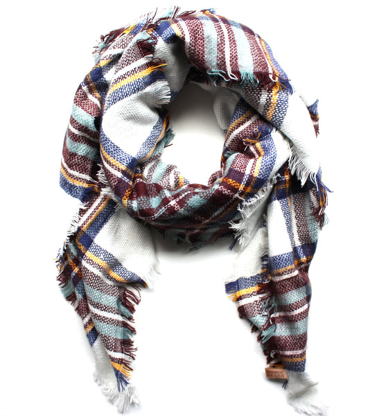 Mad For Plaid Blanket Scarf- White Multi
