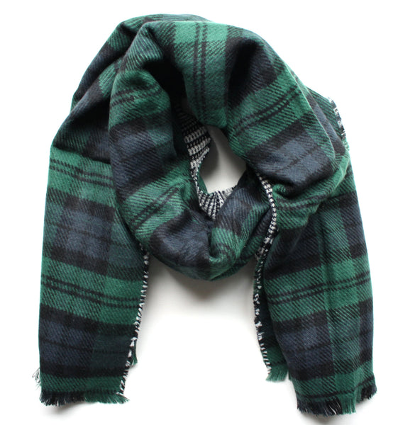 Mad For Plaid Reversible Blanket Scarf- Green