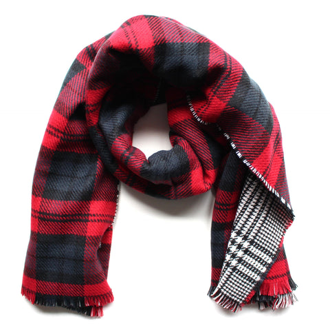 Mad For Plaid Reversible Blanket Scarf- Red