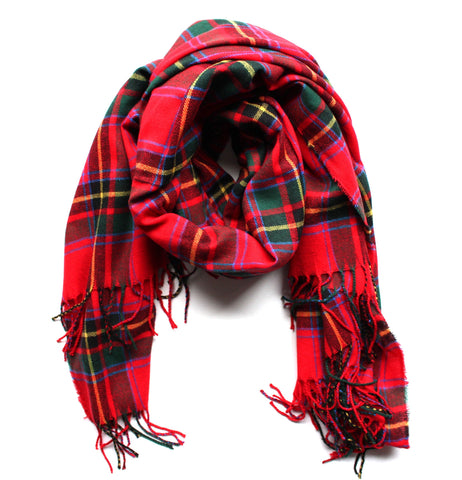 Mad For Plaid Festive Blanket Scarf- Red Multi