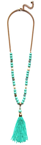 Beaded Pearl Tassel Long Necklace- Mint