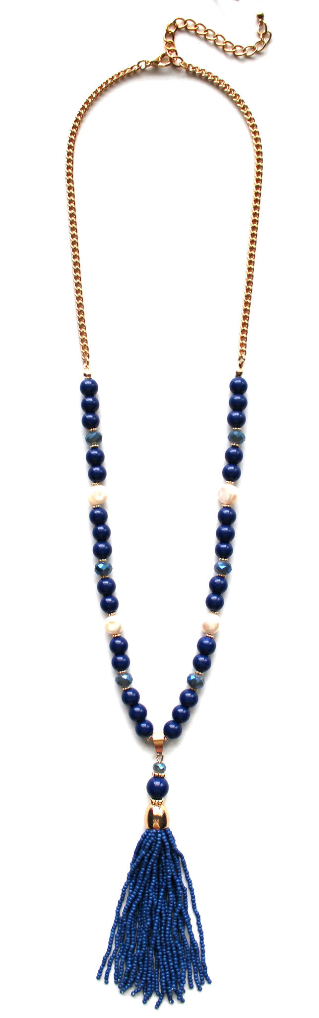 Beaded Pearl Tassel Long Necklace- Navy