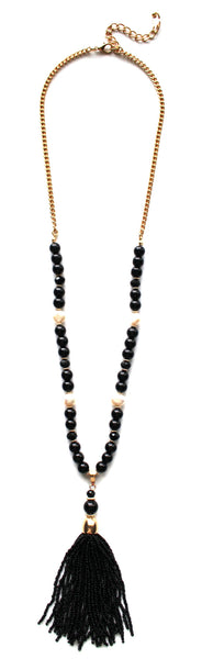 Beaded Pearl Tassel Long Necklace- Black