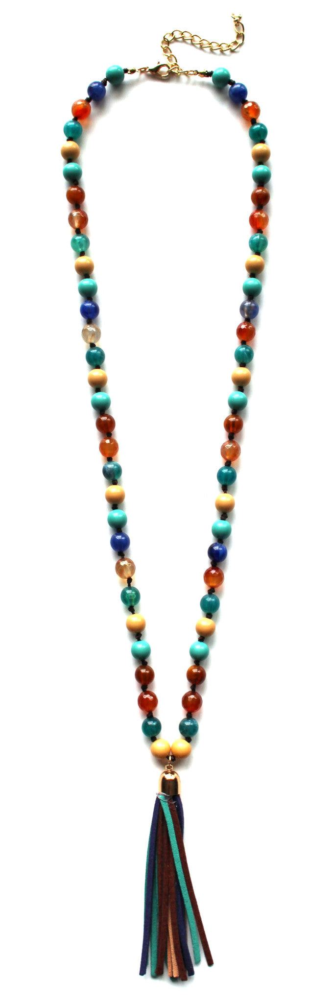 Colorful Beads & Tassels Necklace- Multi Turquoise