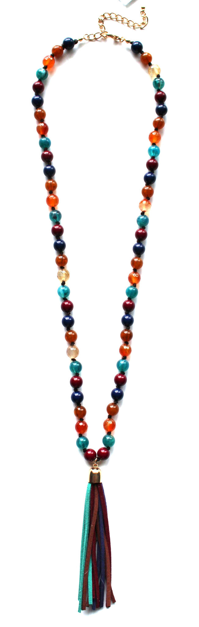 Colorful Beads & Tassels Necklace- Multi Navy