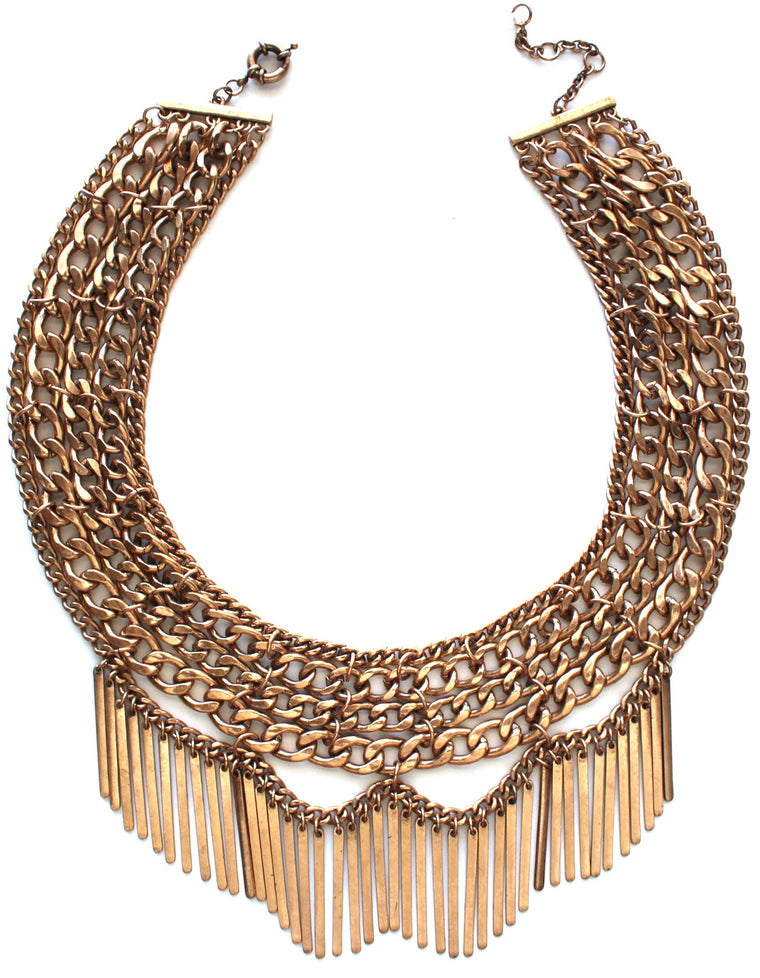 Draped In Metal Fringe Necklace- Antiqued Gold