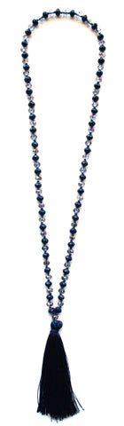 Iridescent Beads Tassel Necklace
