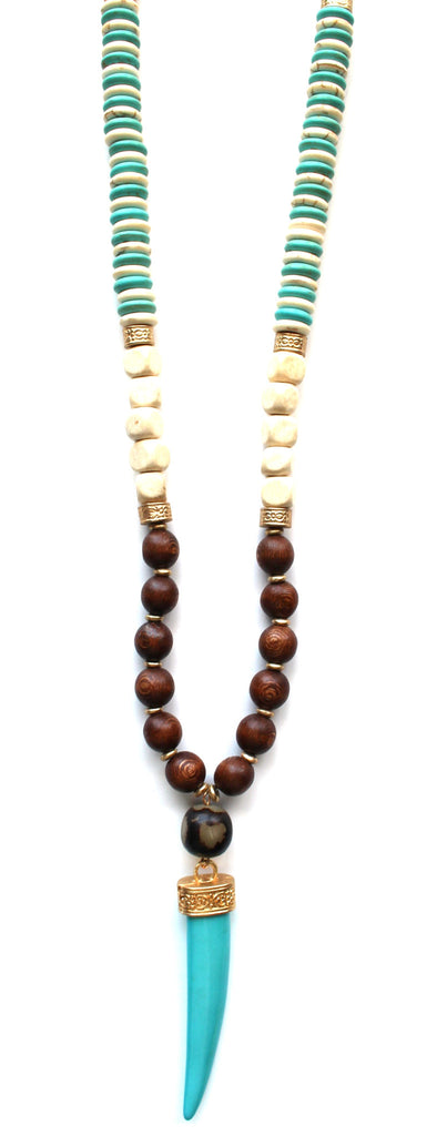 Mix Bead Horn Pendant Necklace