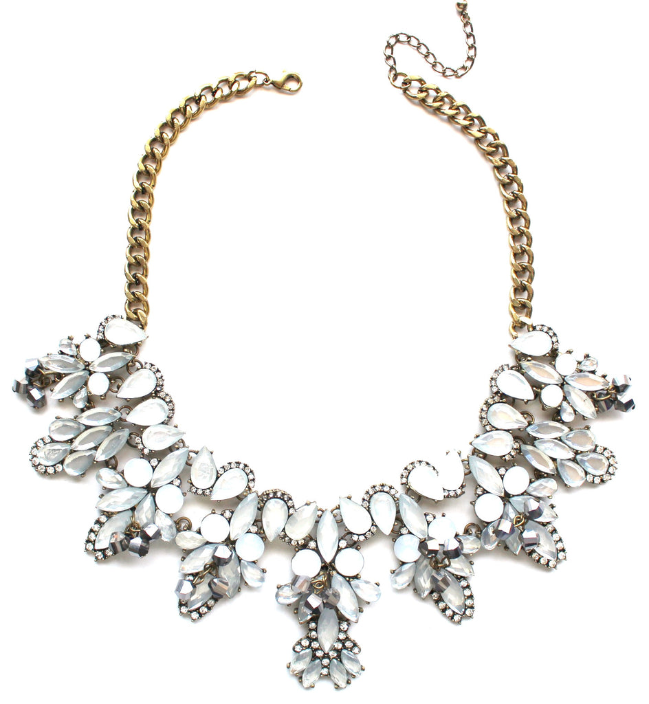 Shimmering Translucent Crystals Statement Necklace