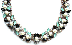 Luxe Stones & Pearls Collar Necklace