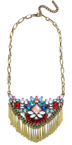Boho Metal Fringe Stone Bib Necklace- Red Multi