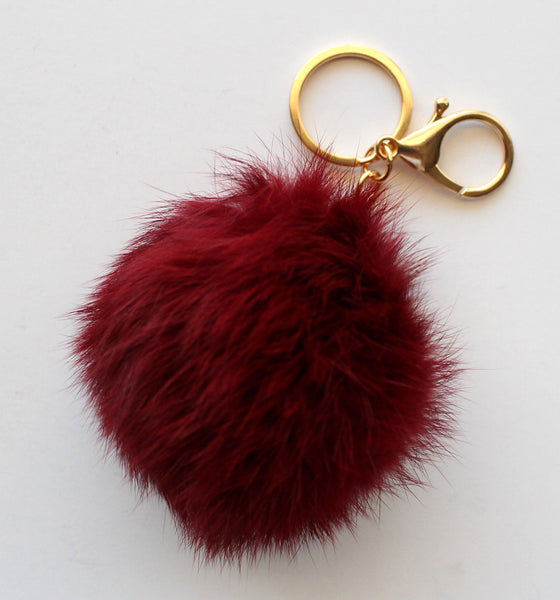 Faux POM Charm/Keychain- Red Wine