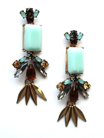 Grecian Mint Stone Drop Earrings