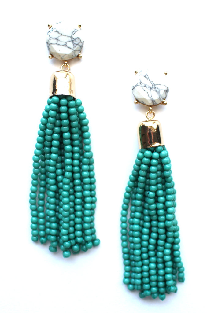Sweet Treat Tassel Earrings- Teal
