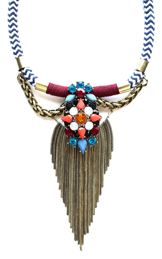 Chevron & Metal Fringe Necklace