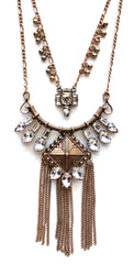 Layered Crystal Armor Tassel Necklace