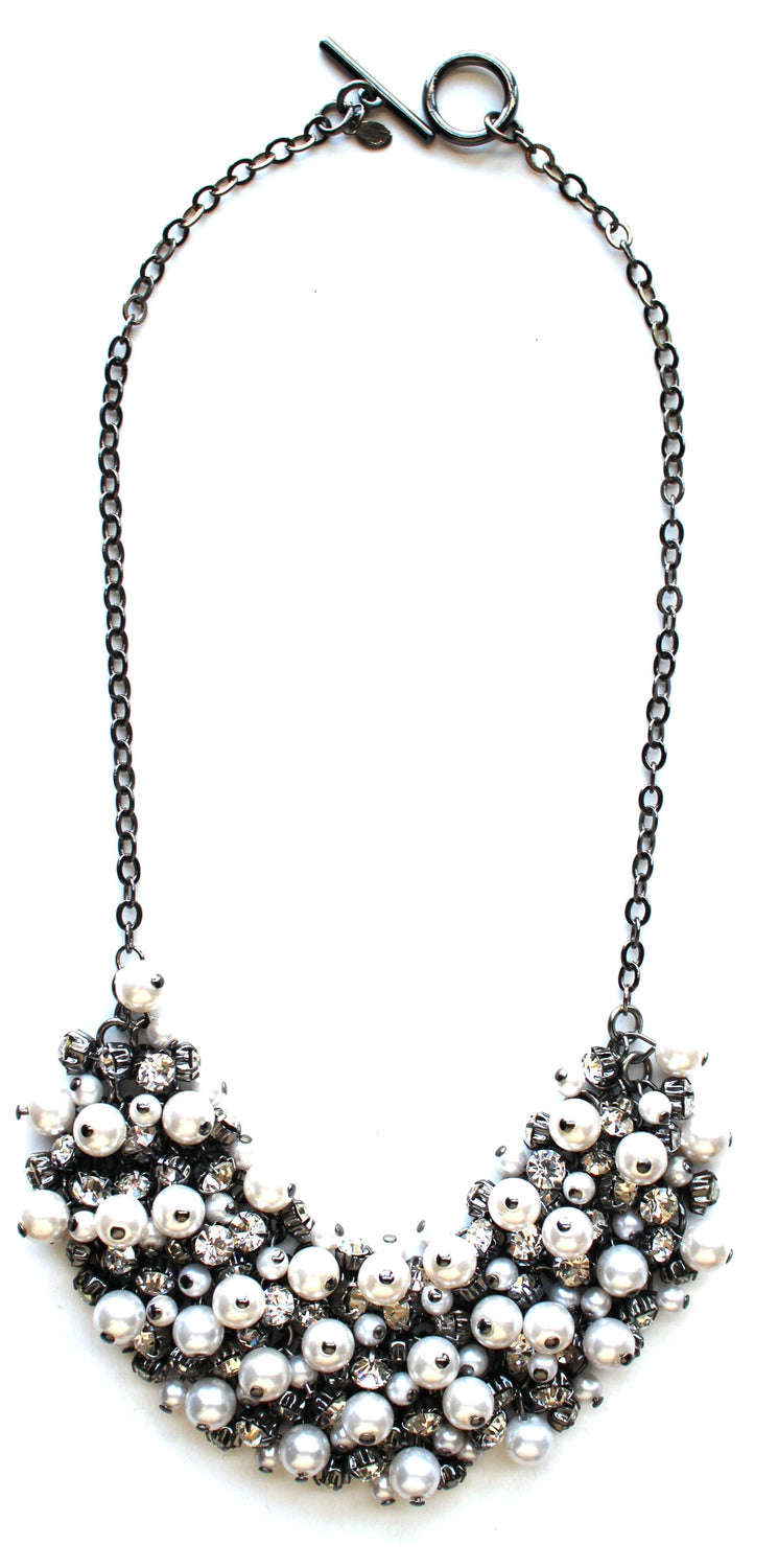 Pearl & Crystal Cluster Necklace