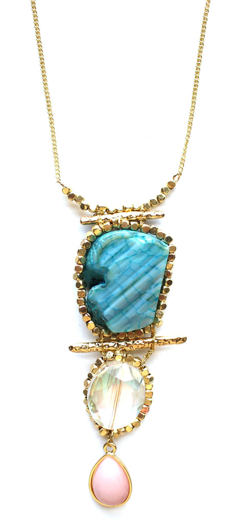 Mix Precious Iridescence Pendant Necklace