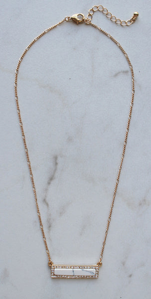 Bling Marble Bar Dainty Necklace- White