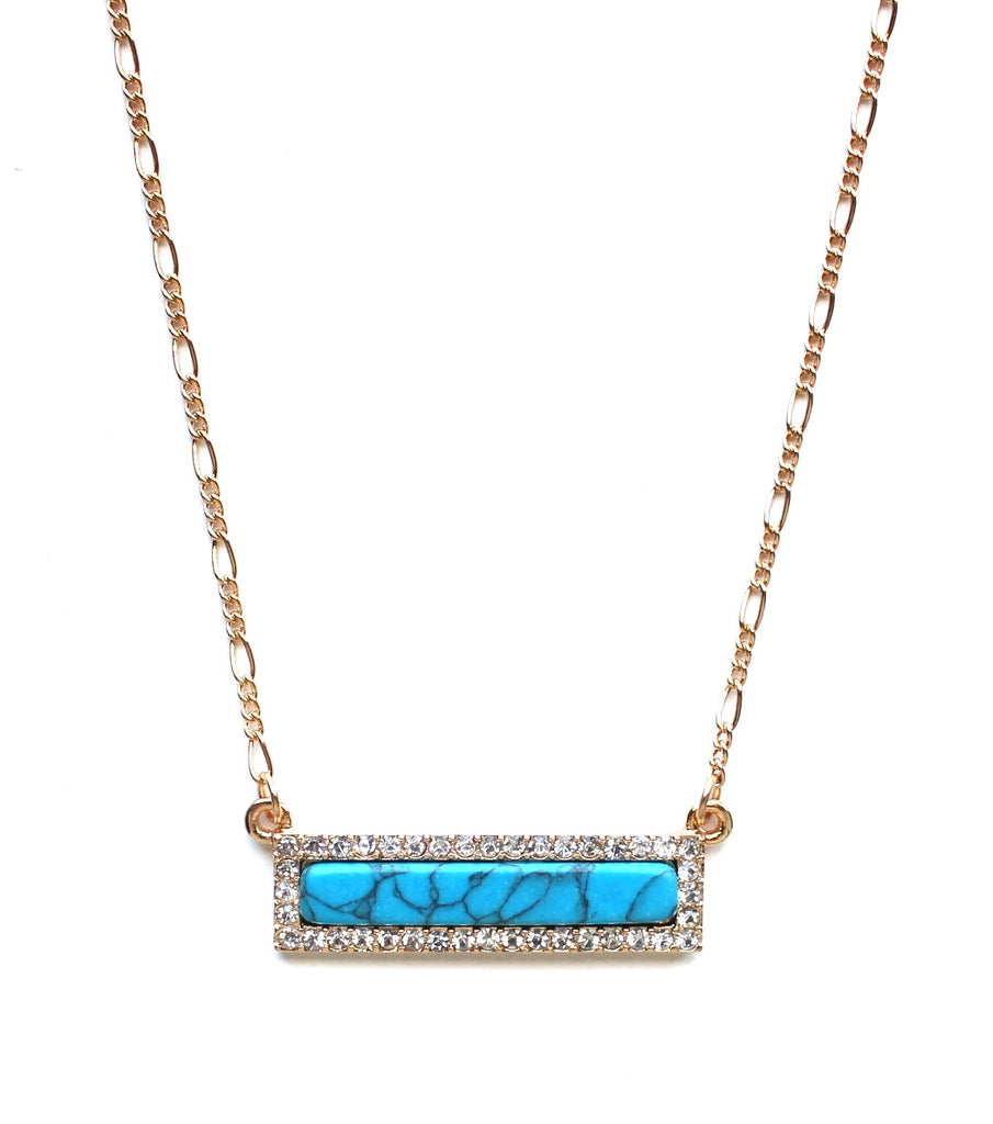 Bling Marble Bar Dainty Necklace- Turquoise