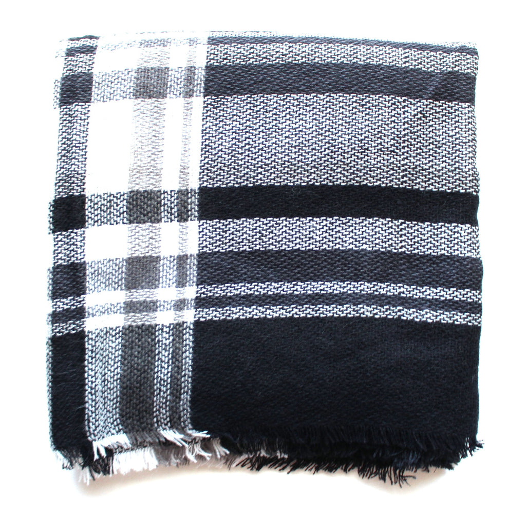 Mad For Plaid Blanket Scarf- Black & White