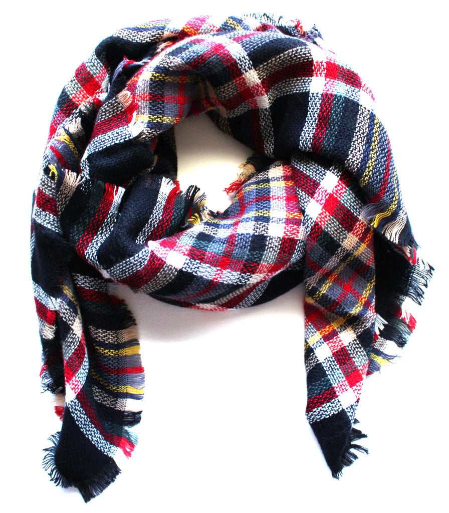 Mad For Plaid Blanket Scarf- Black Multi