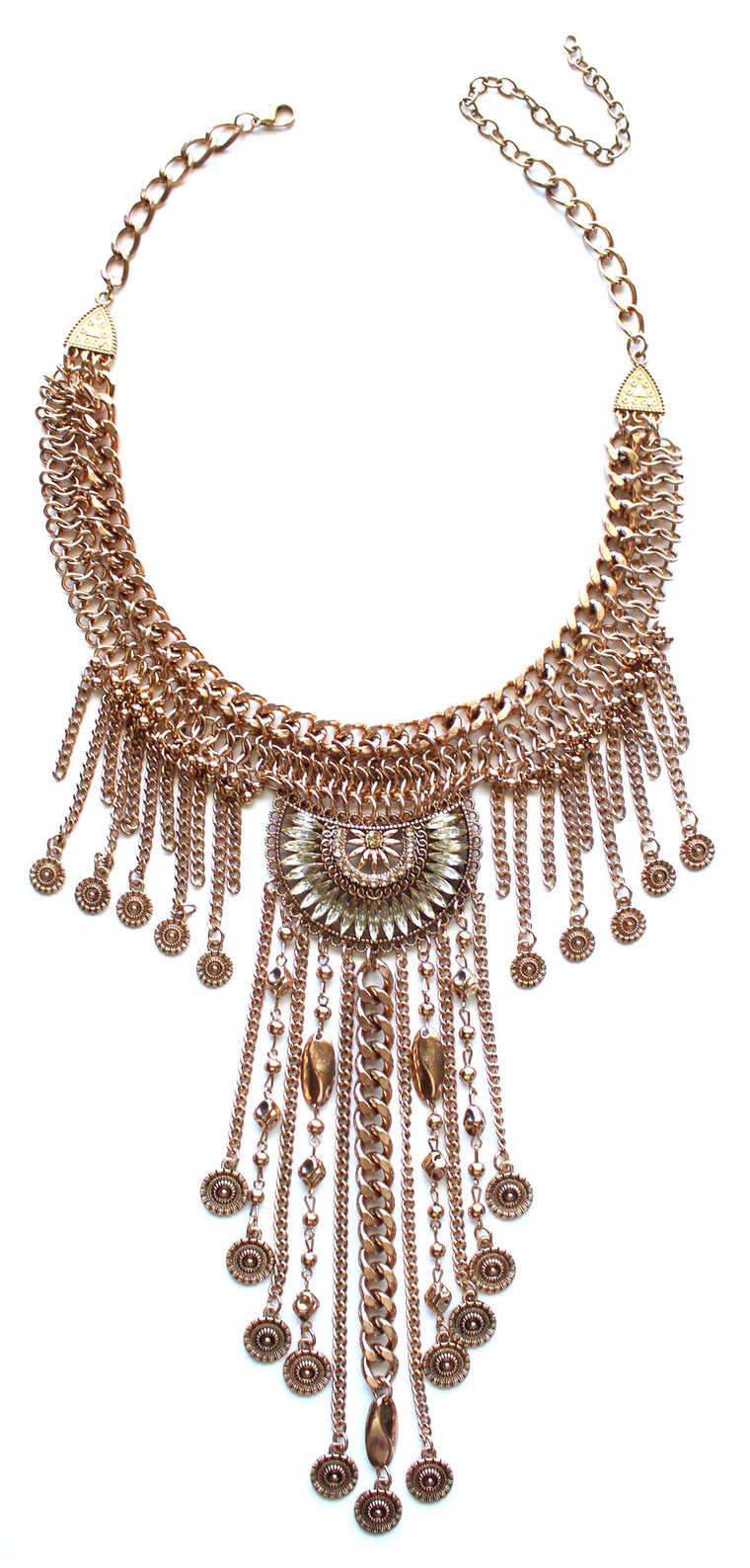 Antiqued Metal Drop Of A Fringe Necklace