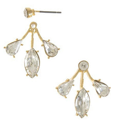 Triple Crystal Stone Ear Jackets- Gold