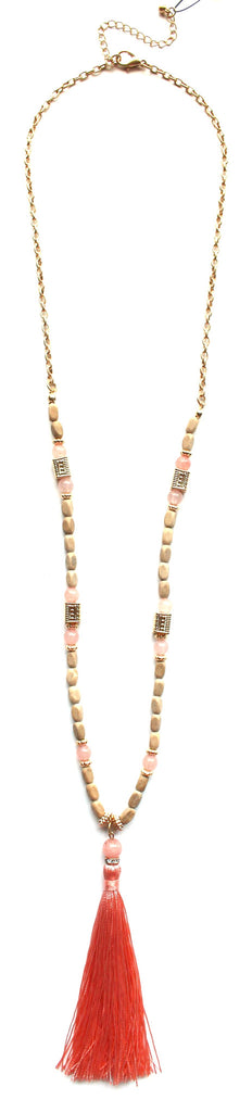 Southern Stone Tassel Necklace- Peach