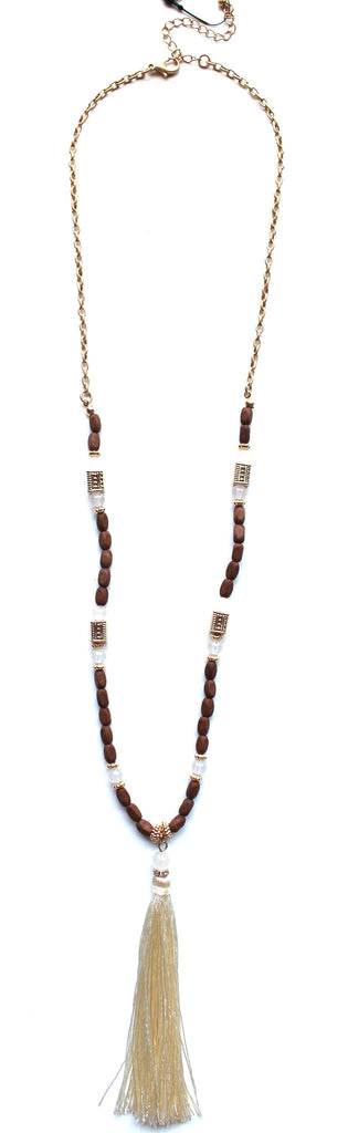 Southern Stone Tassel Necklace- Brown