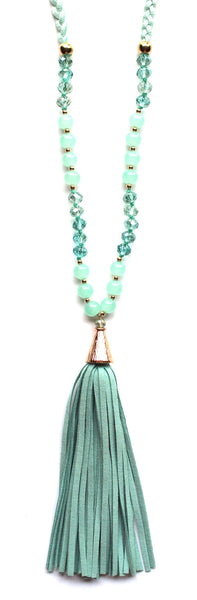 Braided Suede Tassel Necklace- Mint