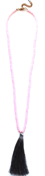Bubblegum Beads & Tassel Necklace