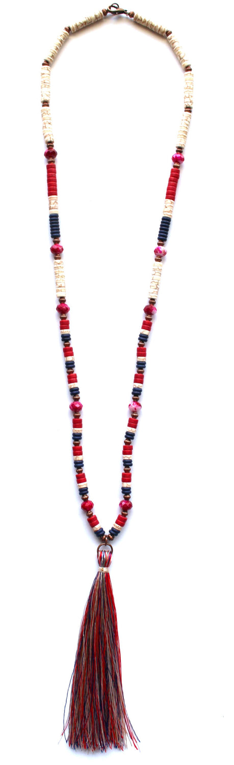Red White & Tassel Necklace
