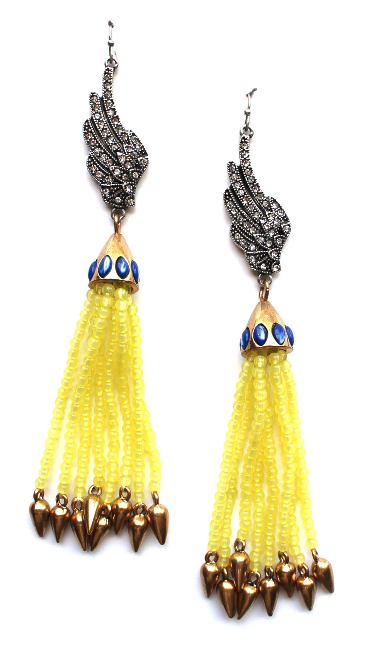 Citrus Fringe & Embellished Wings Earrings