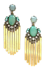 Aqua Stone & Metal Fringe Earrings