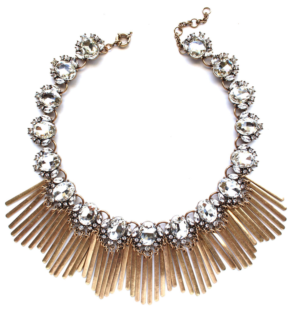 Boho Fringe Envy Statement Necklace- Crystal