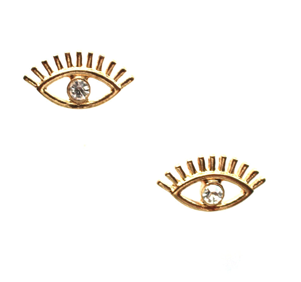 Eye Shine Stud Earrings- Gold