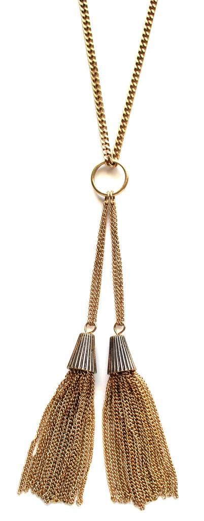 Metal Long Line Tassel Necklace