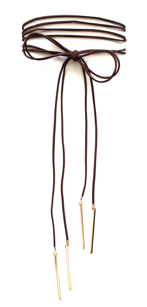 Double Tie Choker Necklace- Brown