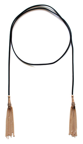 Dreams Wrap Tassel Choker Necklace- Black