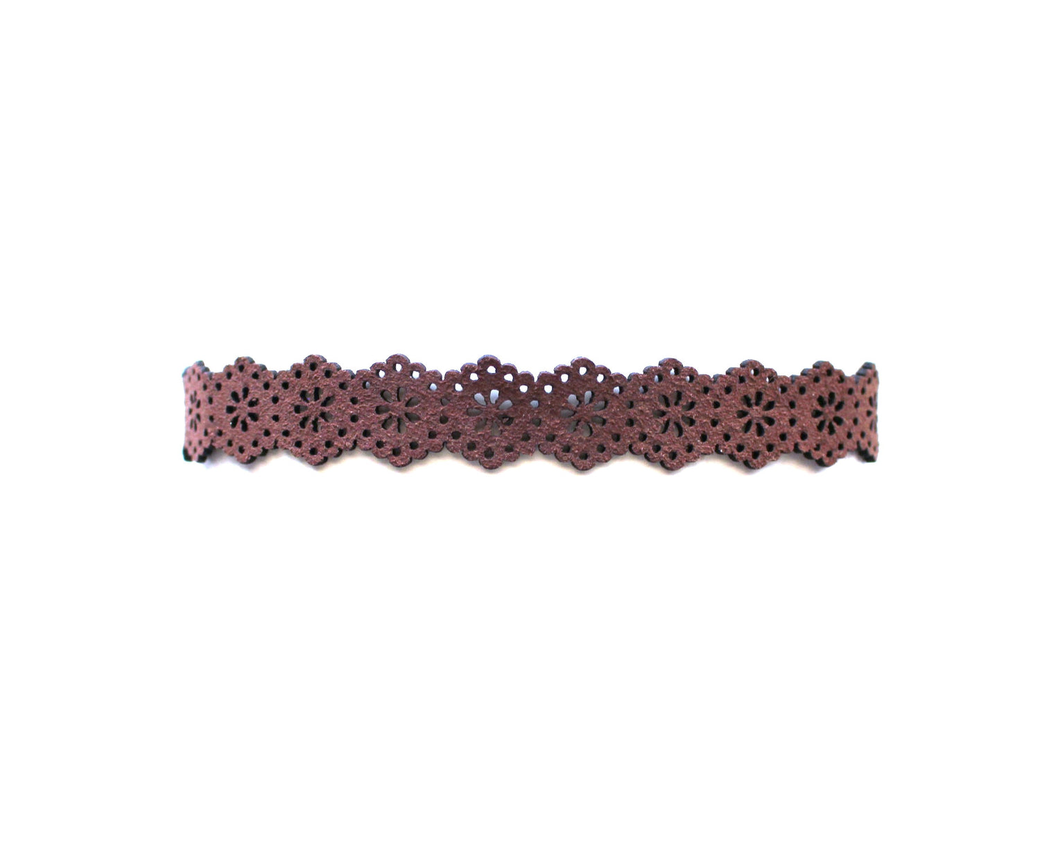 Floral Chic Choker Necklace- Brown