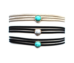 Marble Dot Choker Necklace- Taupe/Turquoise