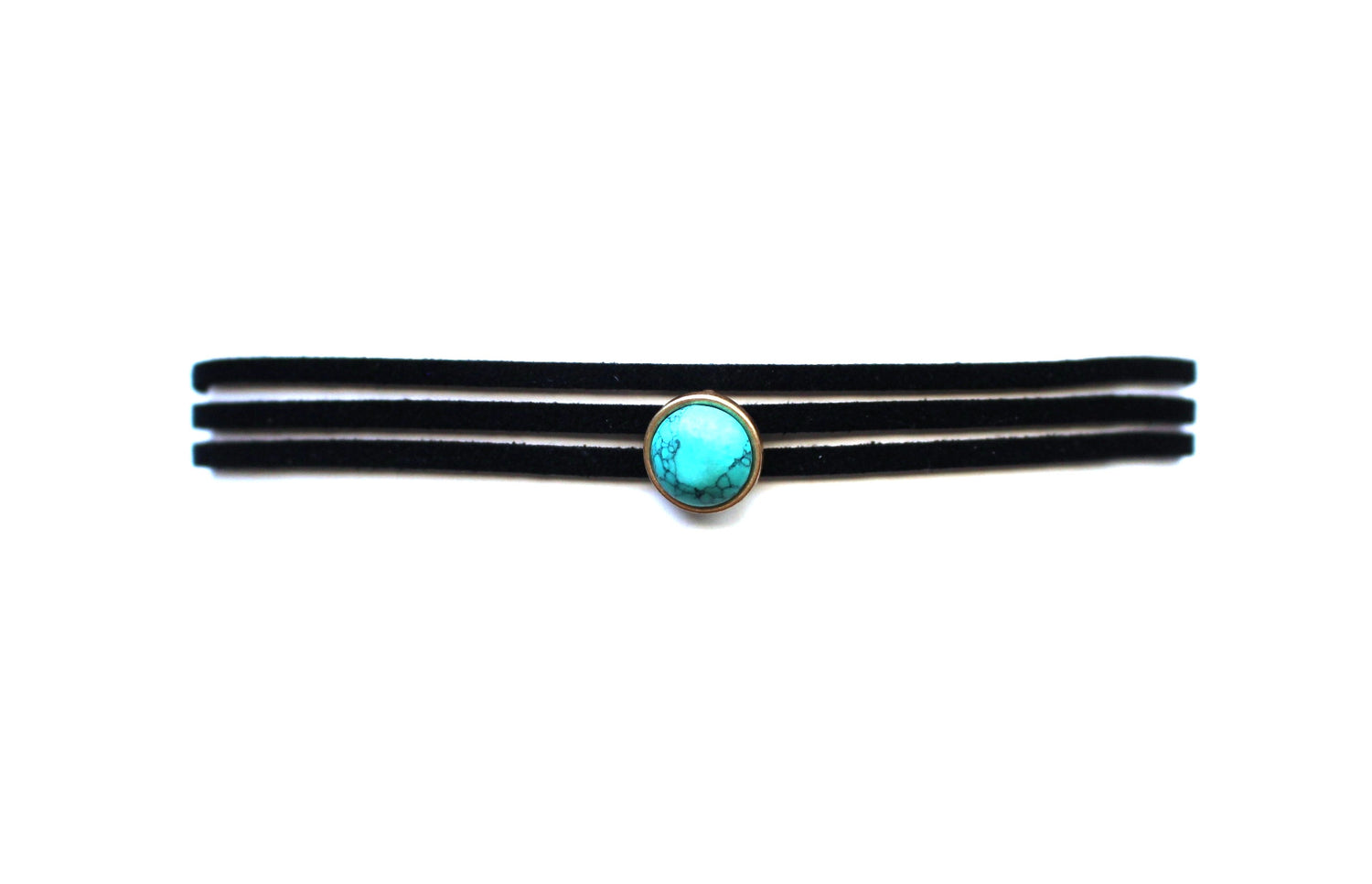 Marble Dot Choker Necklace- Black/Turquoise