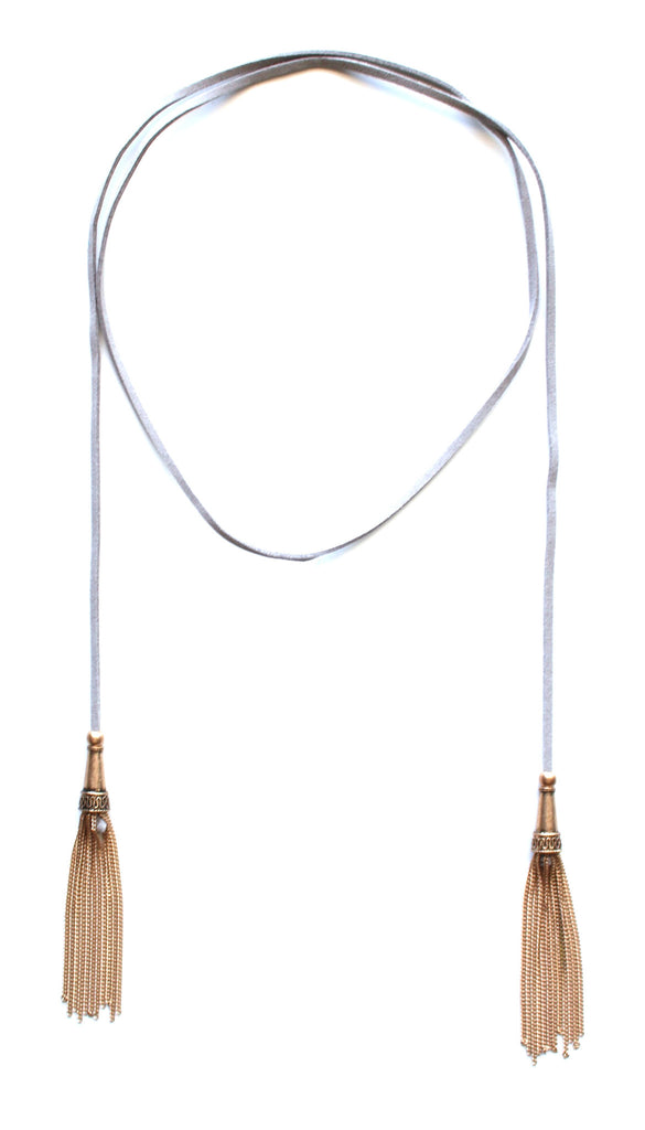 Dreams Wrap Tassel Choker Necklace- Grey